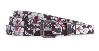 Pack 3 cinturones finos: negro flor rojo