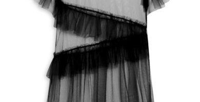 Vestido de malla negro en capas