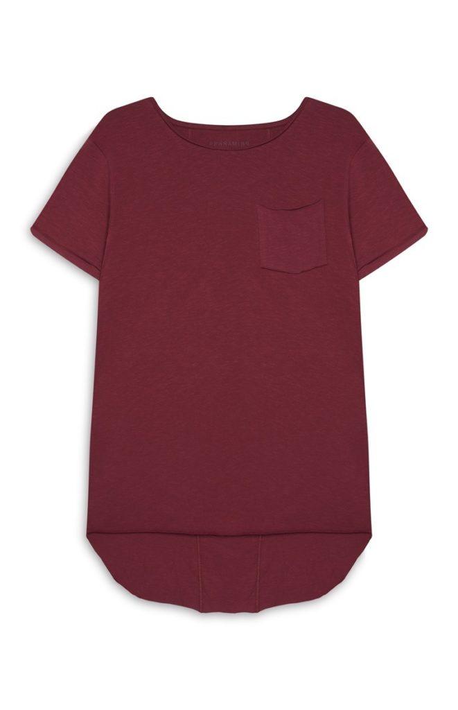 Camiseta larga color burdeos