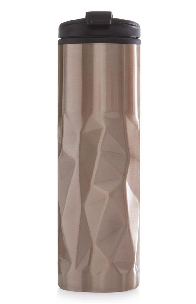 Vaso de viaje oro rosa con textura