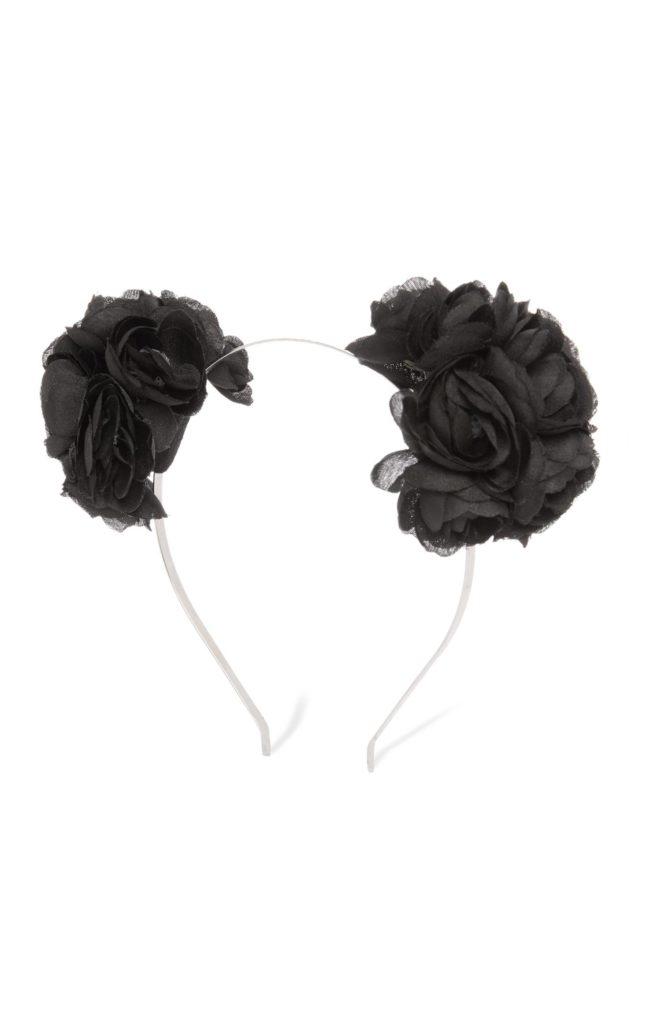Banda de diadema con doble rosa negra