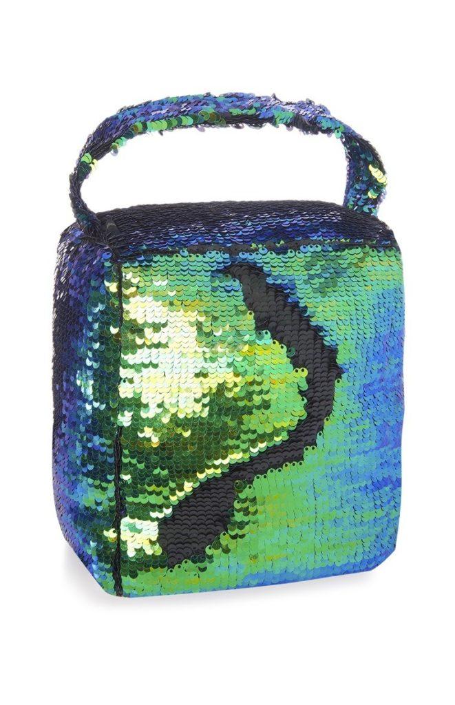 Bolso de lentejuelas verde y azul