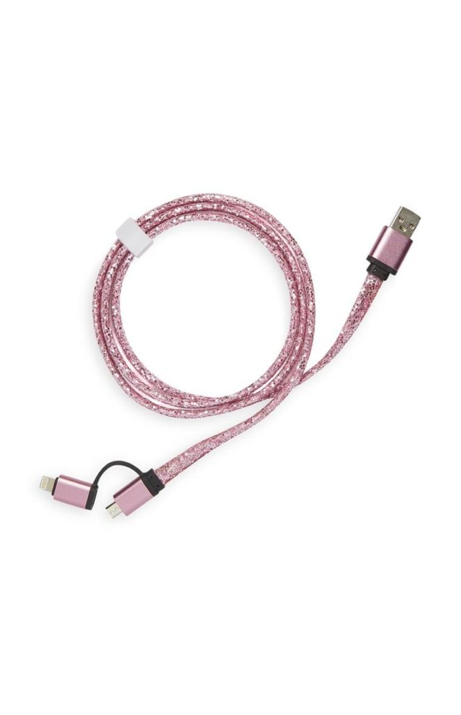 Cable rosa con purpurina