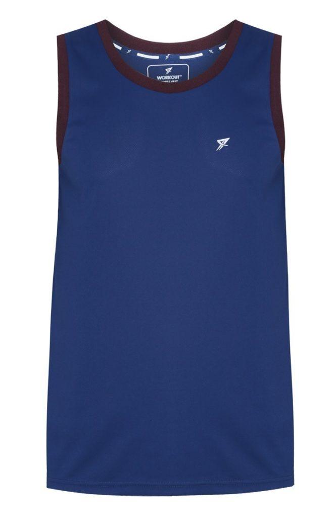 Camiseta deportiva azul sin mangas