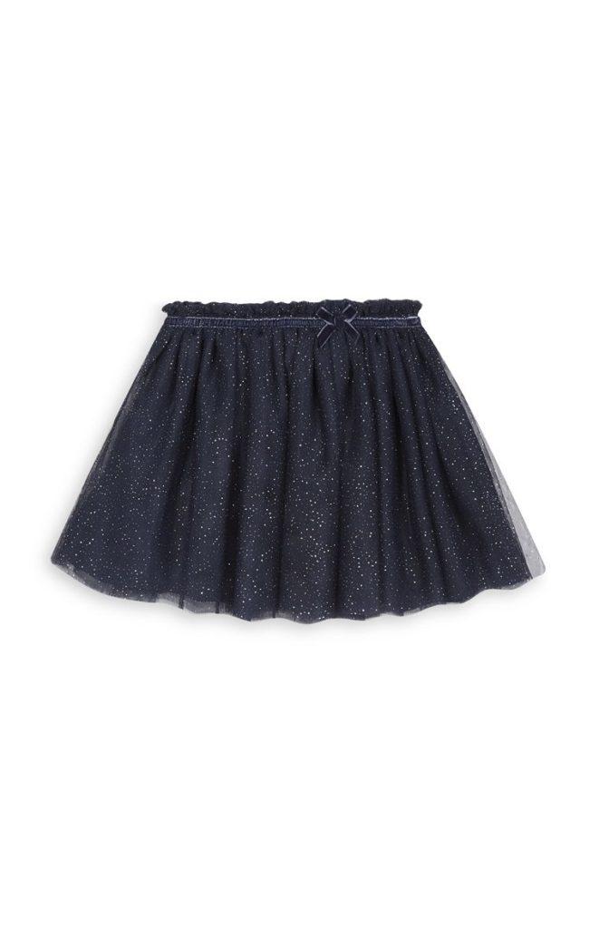 Falda azul marino de niña
