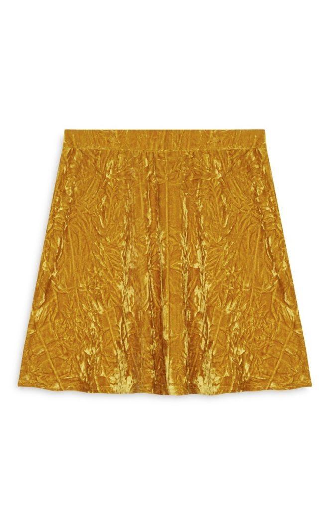 Falda de terciopelo plisada con mostaza