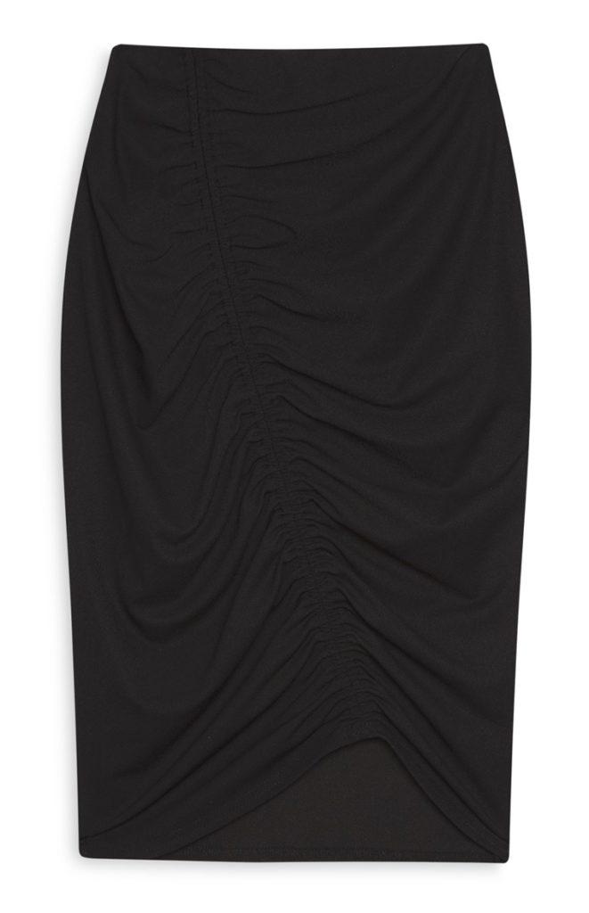 Falda de tubo con pliegues negros