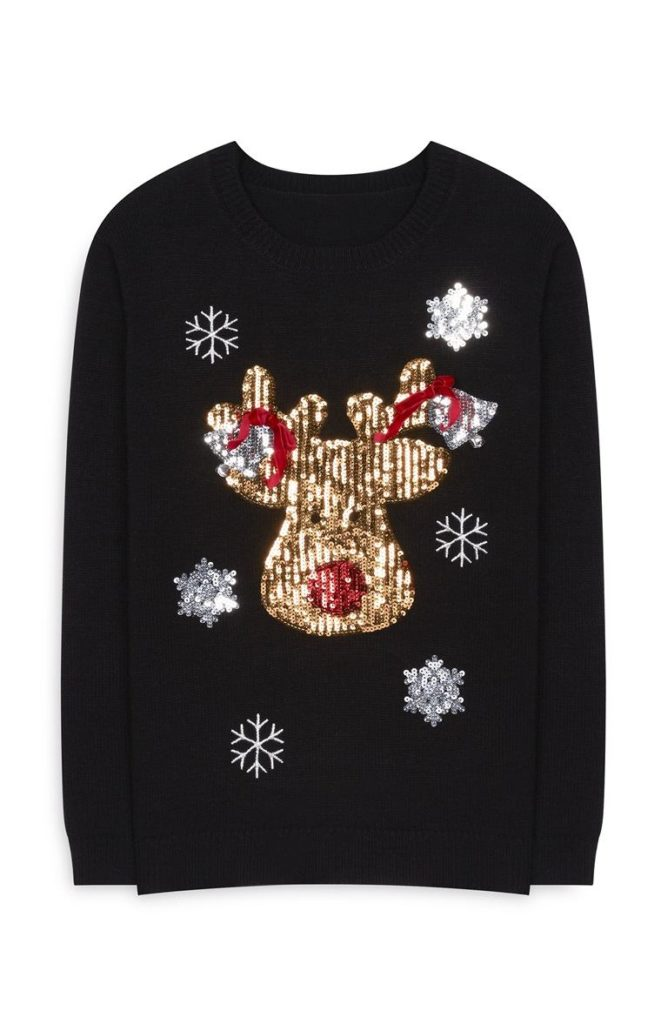 Jersey de Navidad con lentejuelas negras