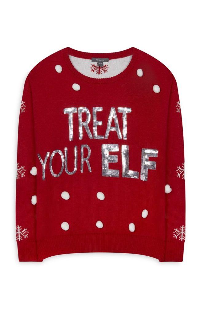 Jersey de Navidad con lentejuelas plateadas