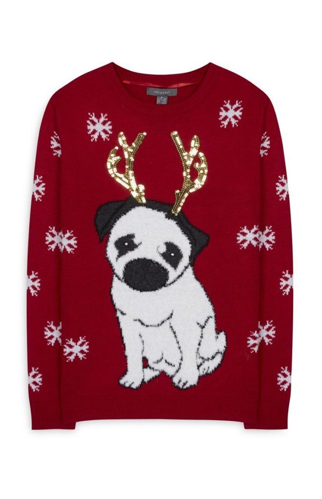 Jersey rojo de Navidad Pug