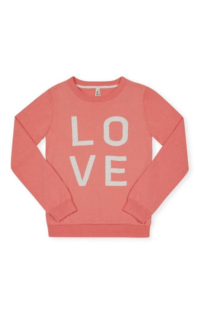 """Jersey rosa """"Love"""" de cuello redondo 9-10 años"""