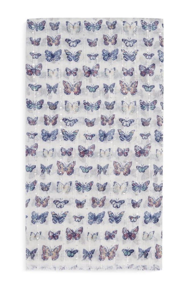 Pañuelo estampado de mariposas