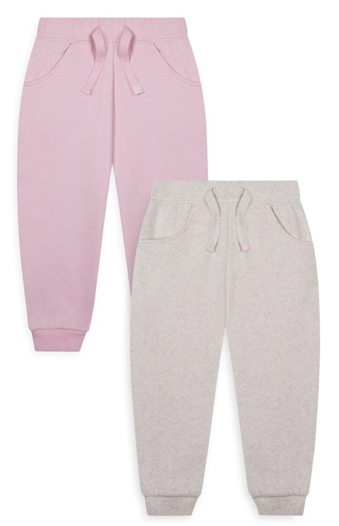 Pack de 2 pantalones de chándal rosa y gris