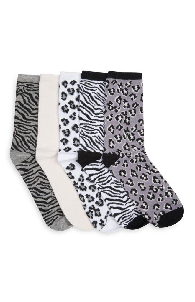 Pack de 5 pares de calcetines estampados de animal print