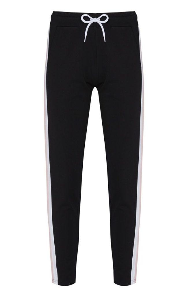 Pantalón de chándal negro con rayas