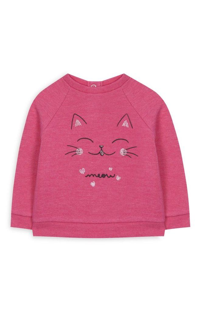 Suéter de gato rosa de bebé niña