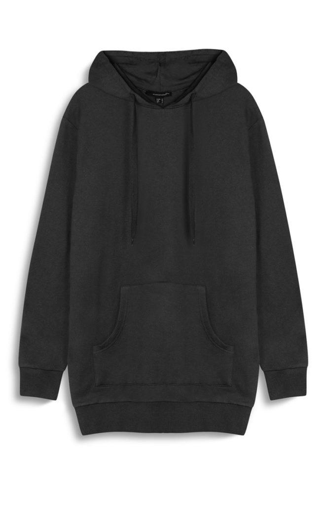 Suéter extragrande con capucha negro