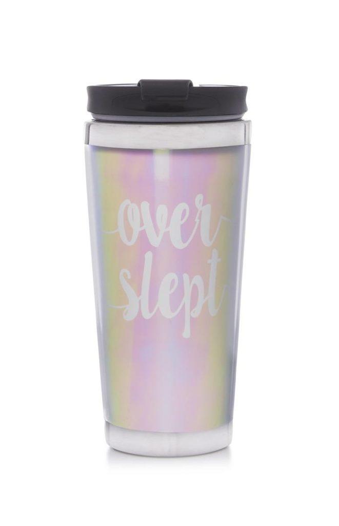 Taza térmica rosa «Over Slept»