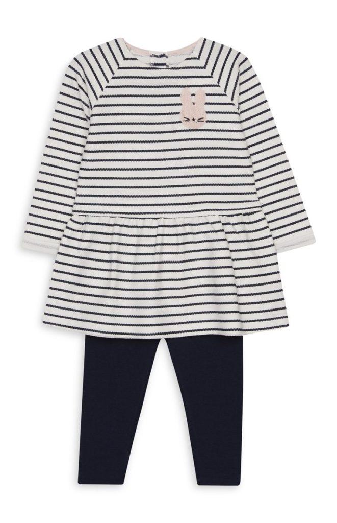 Vestido a rayas y leggings de bebé niña