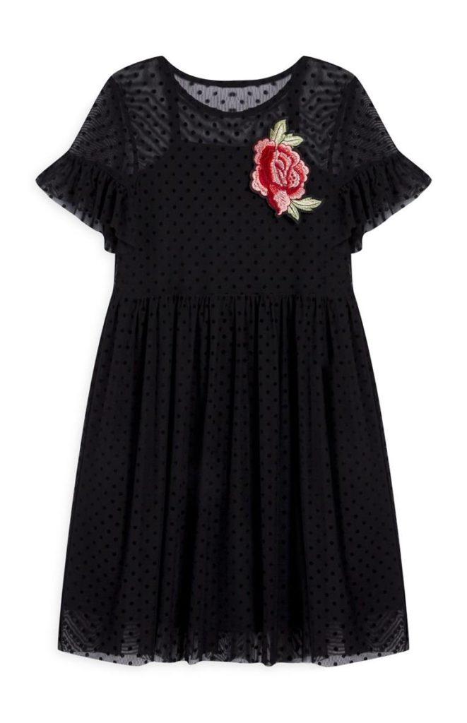 Vestido de malla negro de niña mayor