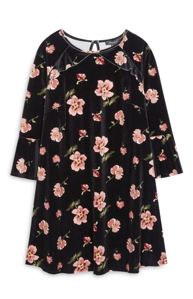 Vestido floral de terciopelo negro