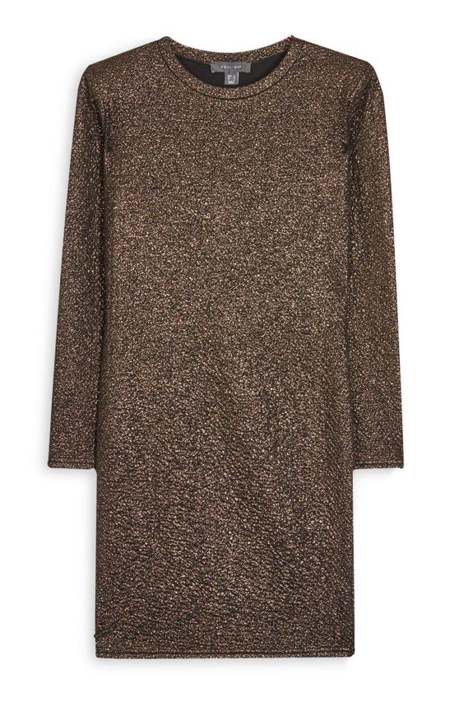 Vestido resplandeciente de bronce
