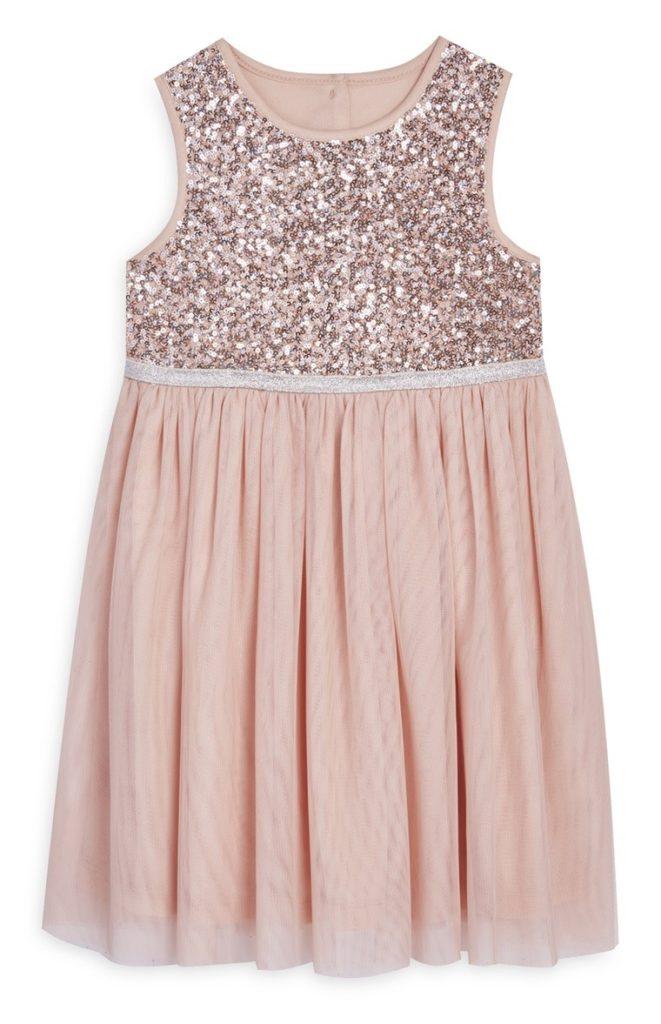 Vestido tul rosa con lentejuelas de niña