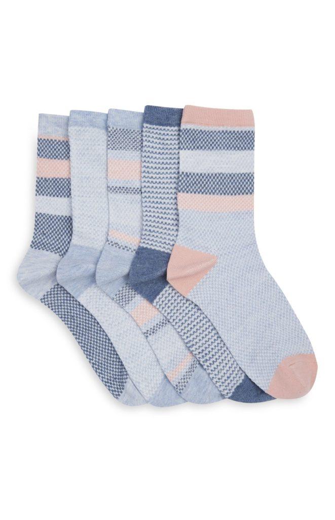 Pack de 5 pares de calcetines gris rosa