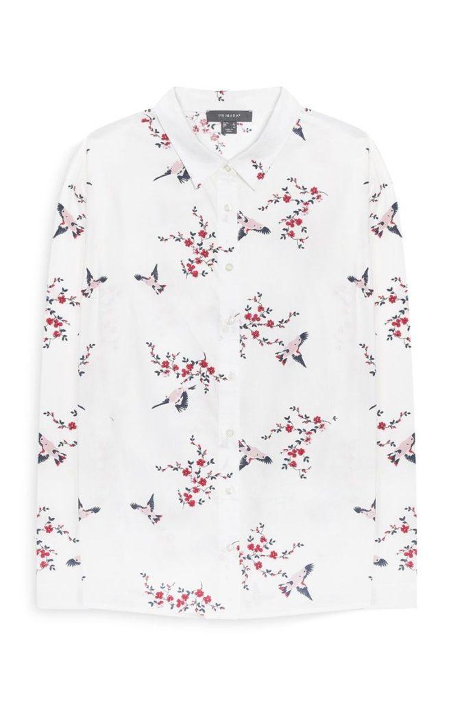 Camisa Estampada Floral Blanca