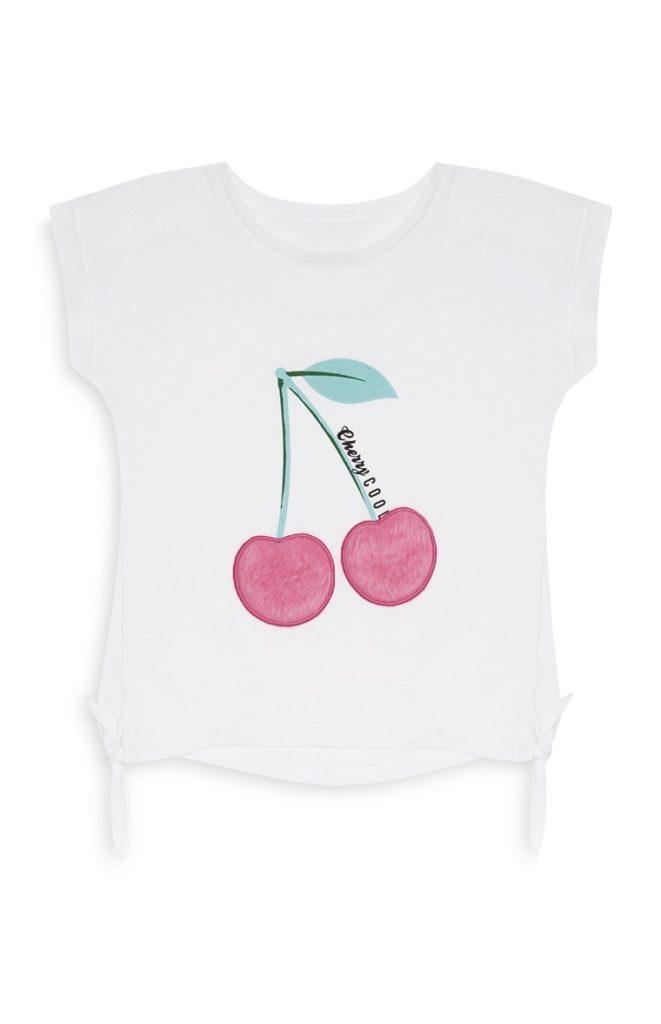 Camiseta de niña con estampado de cerezas
