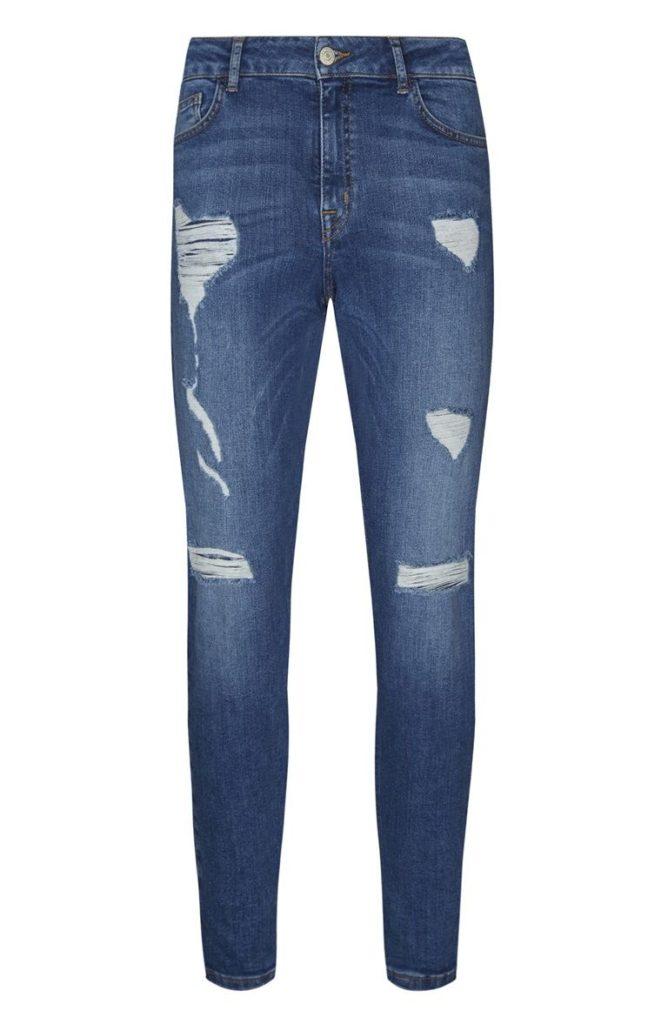 Jean azul índigo desgastado