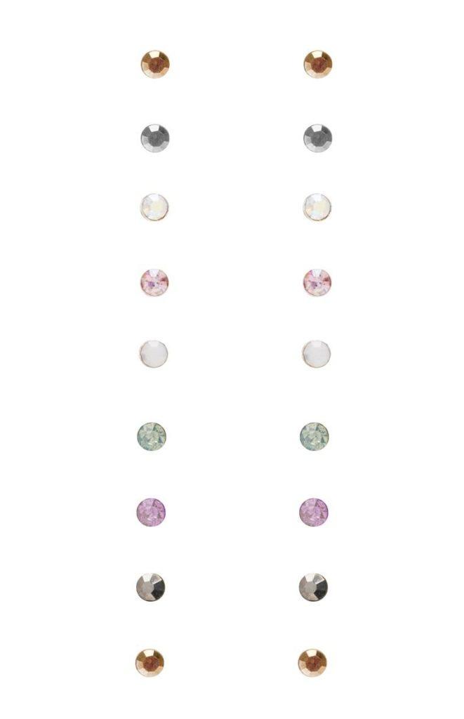 Pack de 9 Mini zarcillos de Diamante