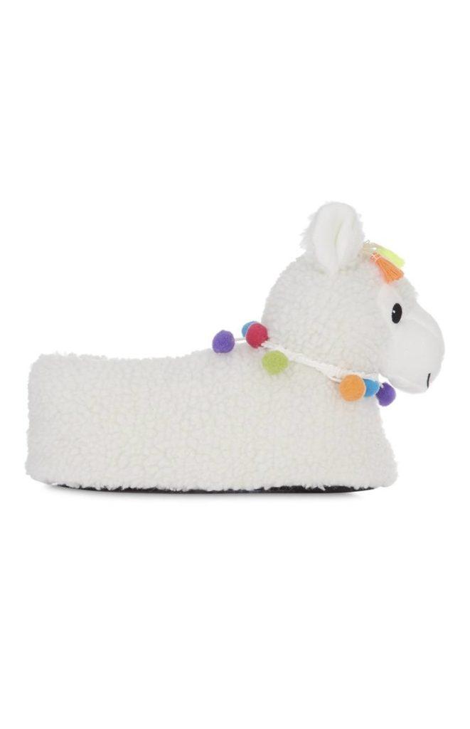 Pantuflas de Llama con detalle de Pom Pom