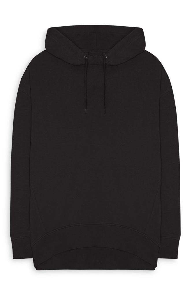 Sudadera con capucha negra extragrande