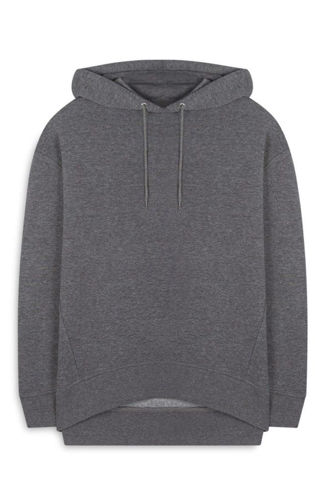 Sudadera extragrande gris con capucha