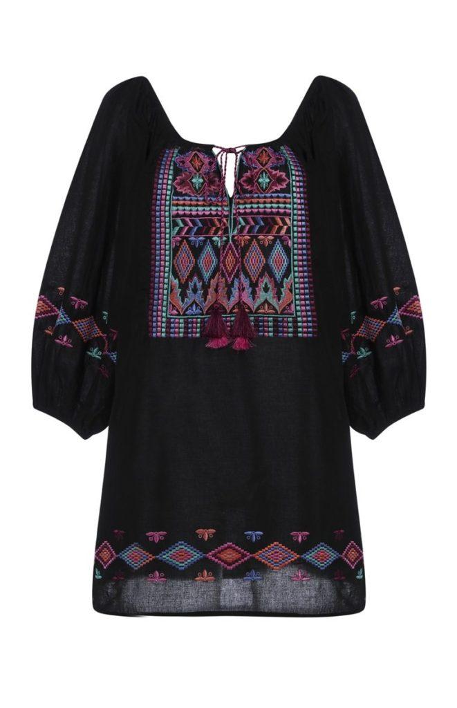 Vestido de Kaftan bordado negro