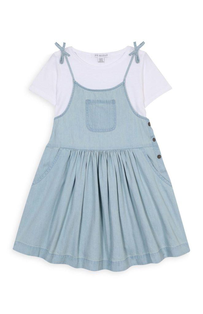 Vestido y camiseta de mezclilla para niñas