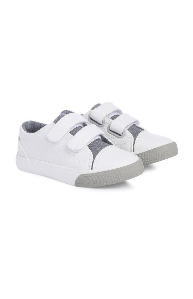 Zapato de Velcro blanco con gris