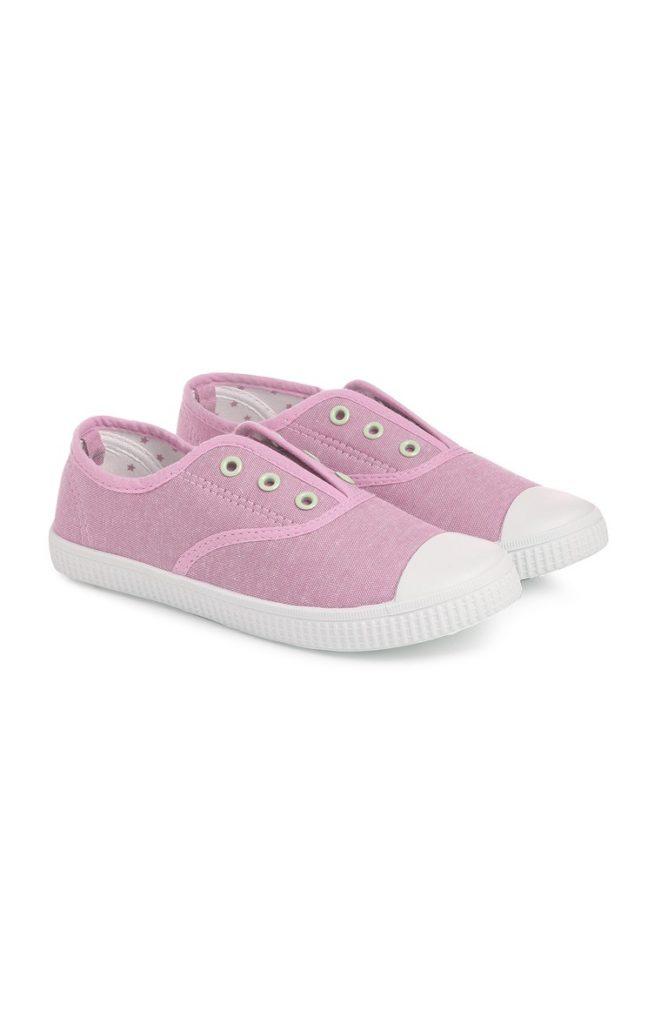 Zapatos de lona sin cordones rosas
