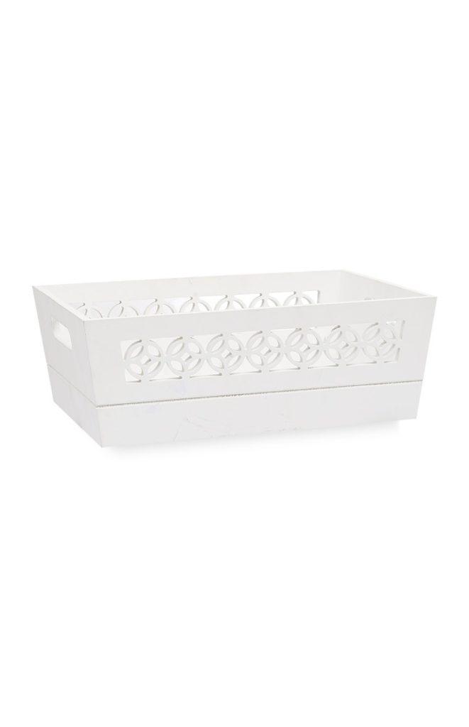 Caja de Madera Blanca con Motivo Geométrico