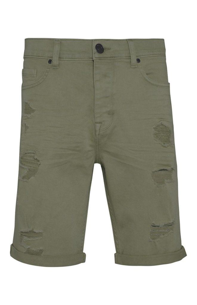 Pantalón Corto Entallado Color Caqui