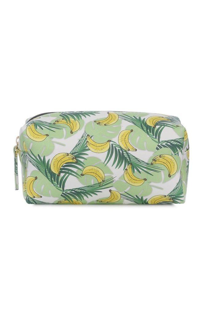 Bolsa de maquillaje de bananas y palmas