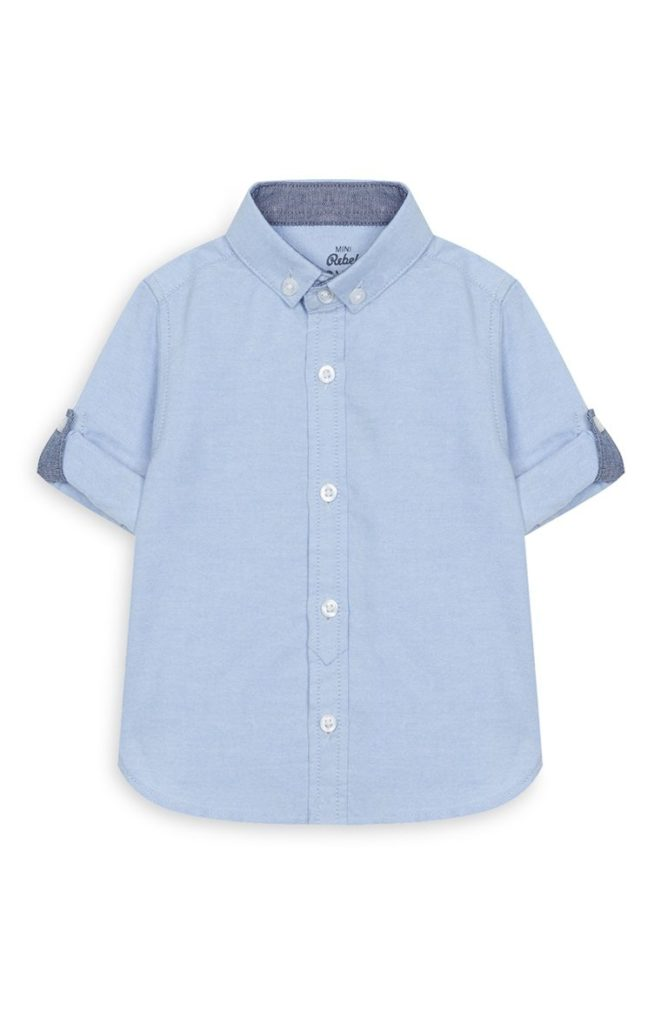 Camisa Oxford azul de bebé niño