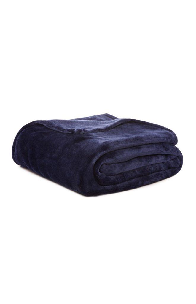 Manta super suave color azul oscuro