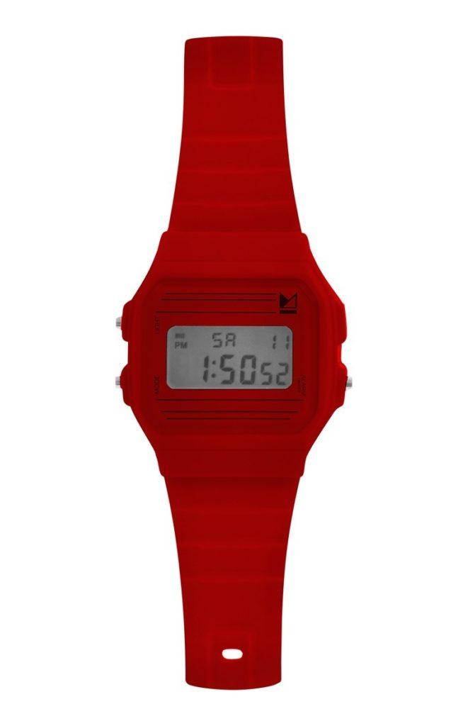 Reloj de pulsera digital rojo