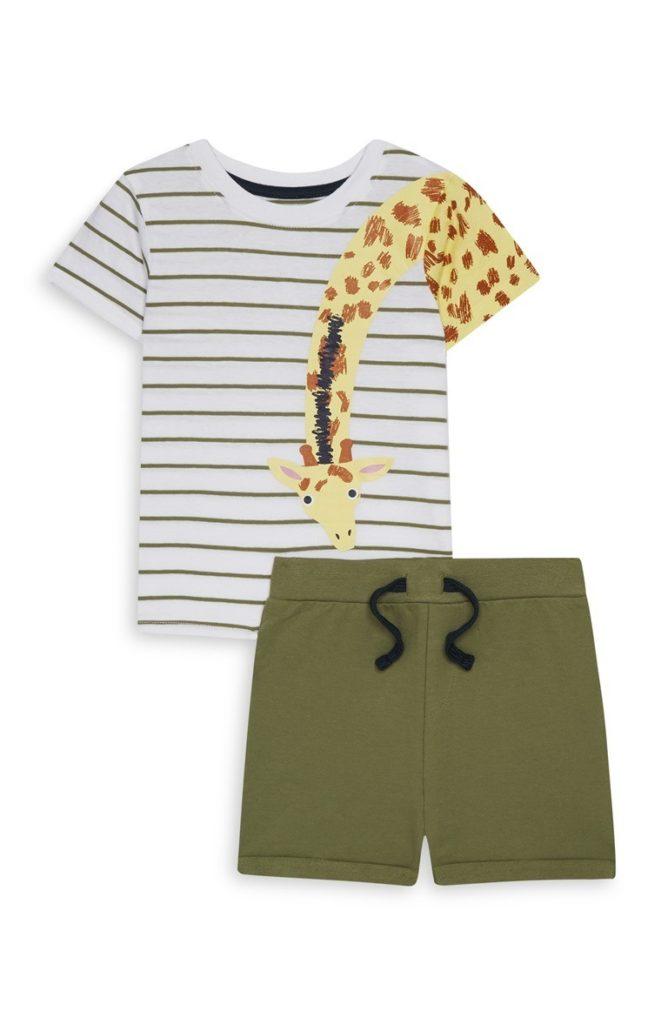 Set de camiseta con jirafa y short de bebé niño