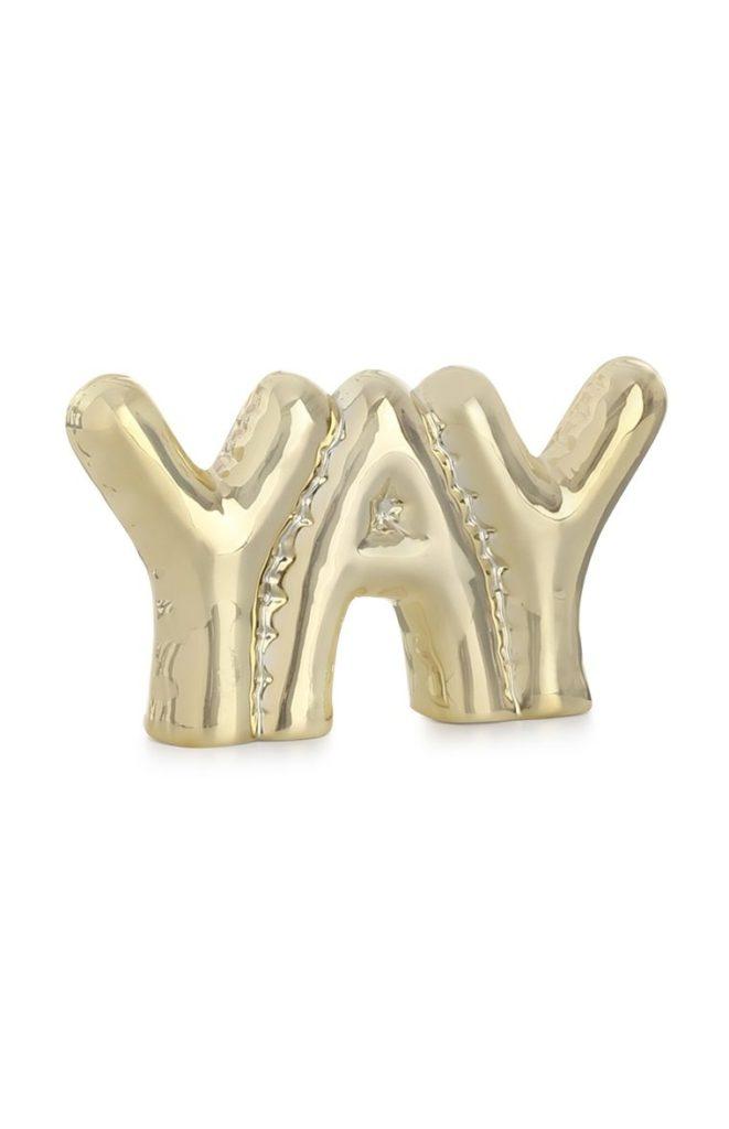 Adorno hinchable dorado «Yay»