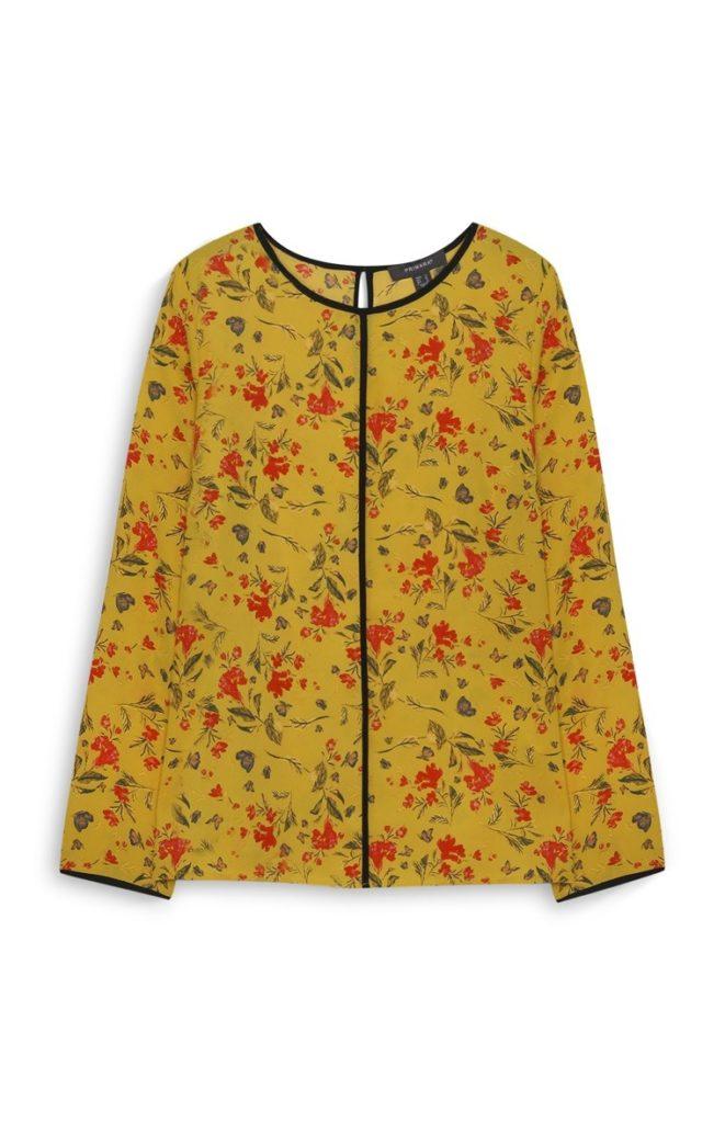 Blusa Estampada Floral Mostaza