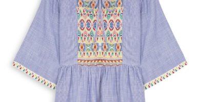 Blusa de manga ancha con bordado