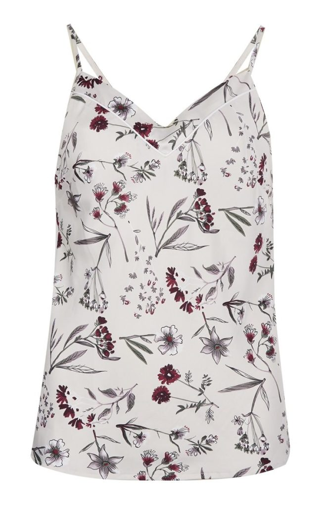 Camisa de pijama de satén floral